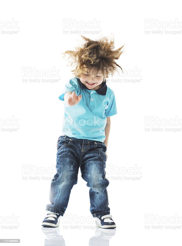 Cute boy dancing. royalty-free stock photo