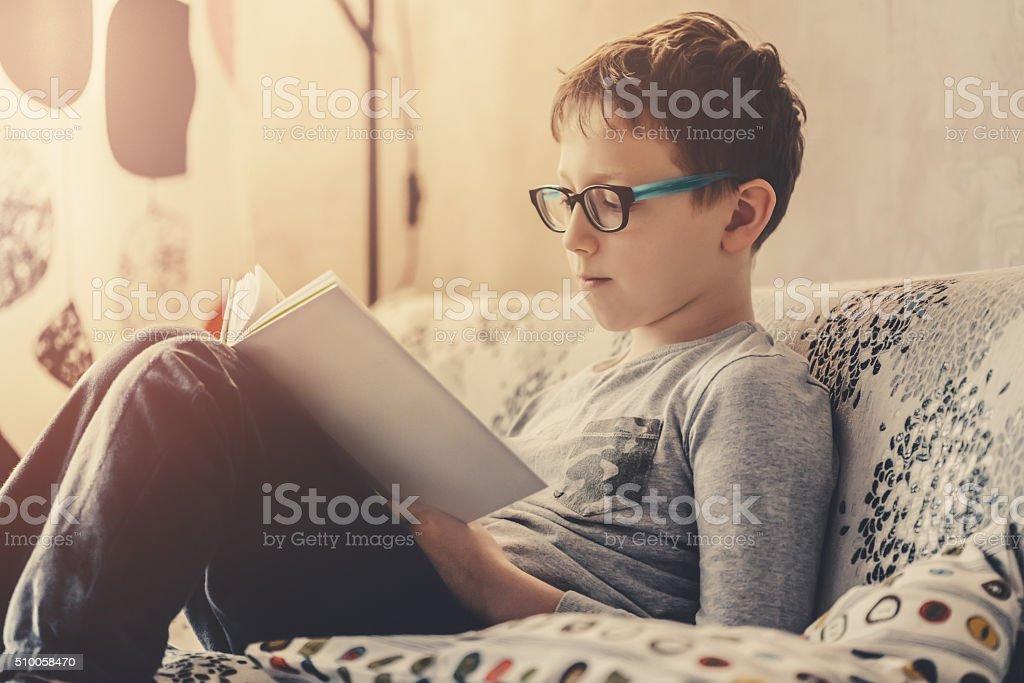 Cute boy reading a book stock photo