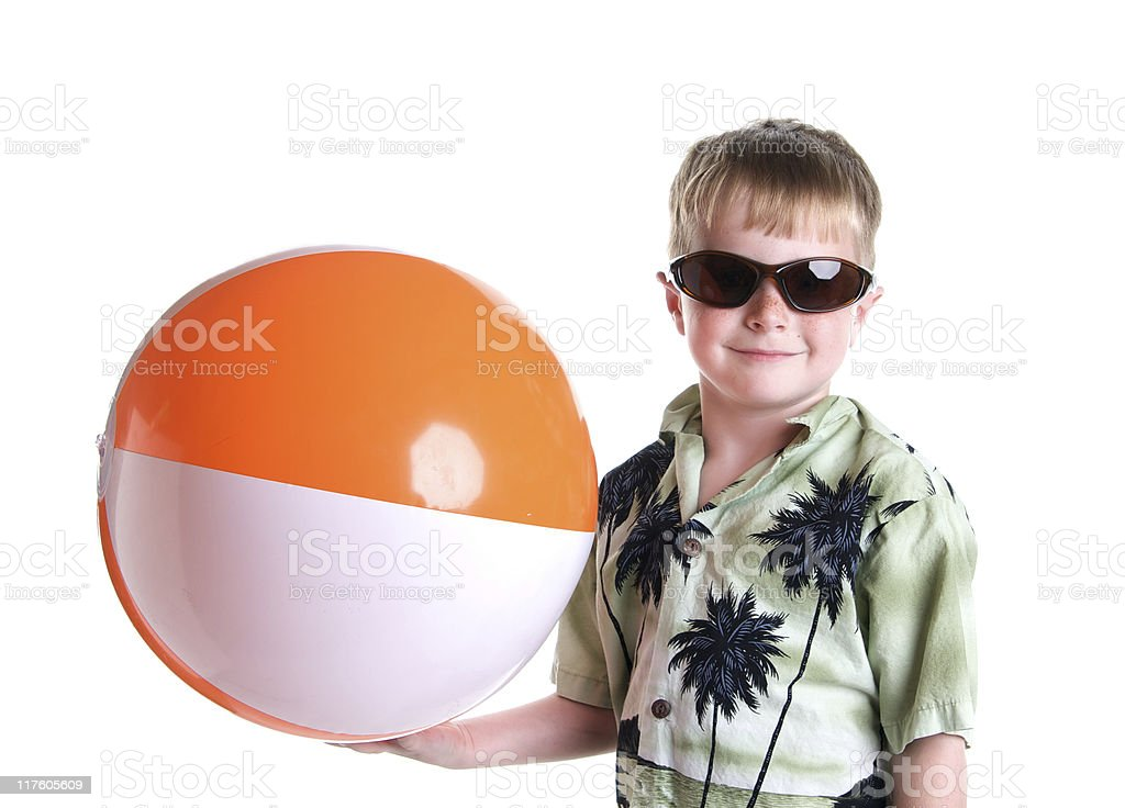 Cute Boy Ready for the Beach Vacation royalty-free stock photo