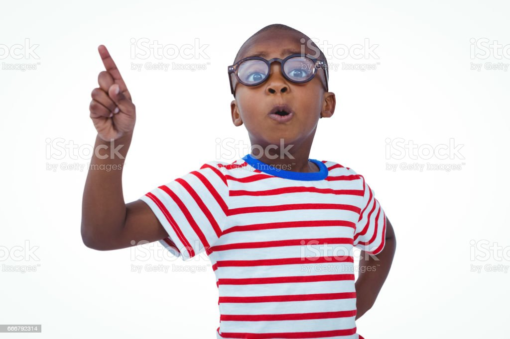 Cute boy shaking finger saying no to the camera stock photo