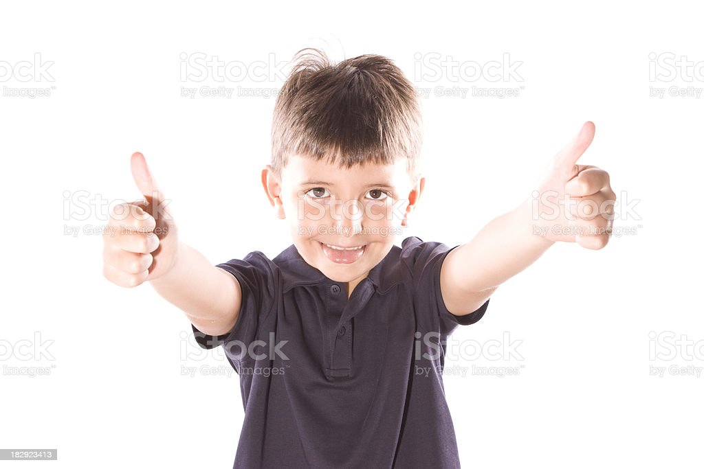 Cute Boy shows sign okey stock photo