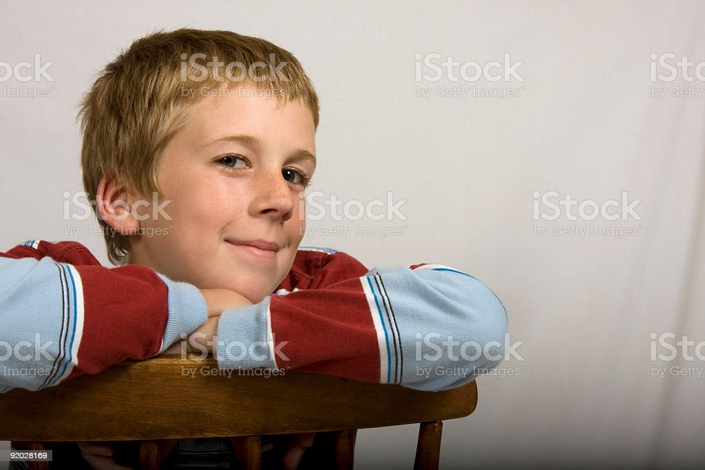Cute boy smiling stock photo