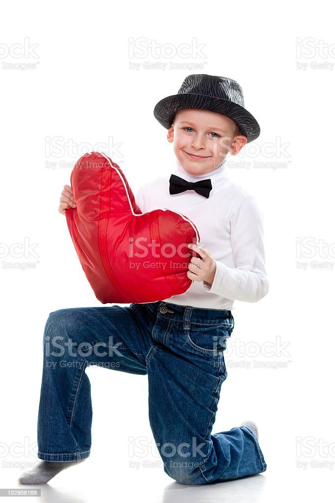 Cute boy with red heart royalty-free stock photo