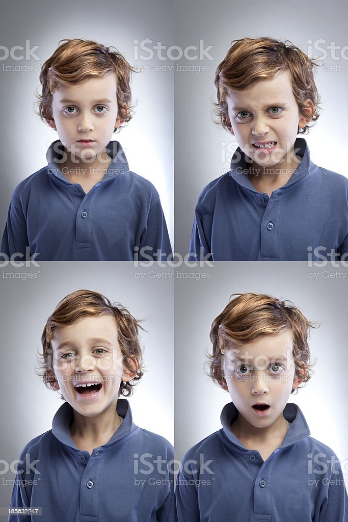 Cute Boys Facial Expressions royalty-free stock photo