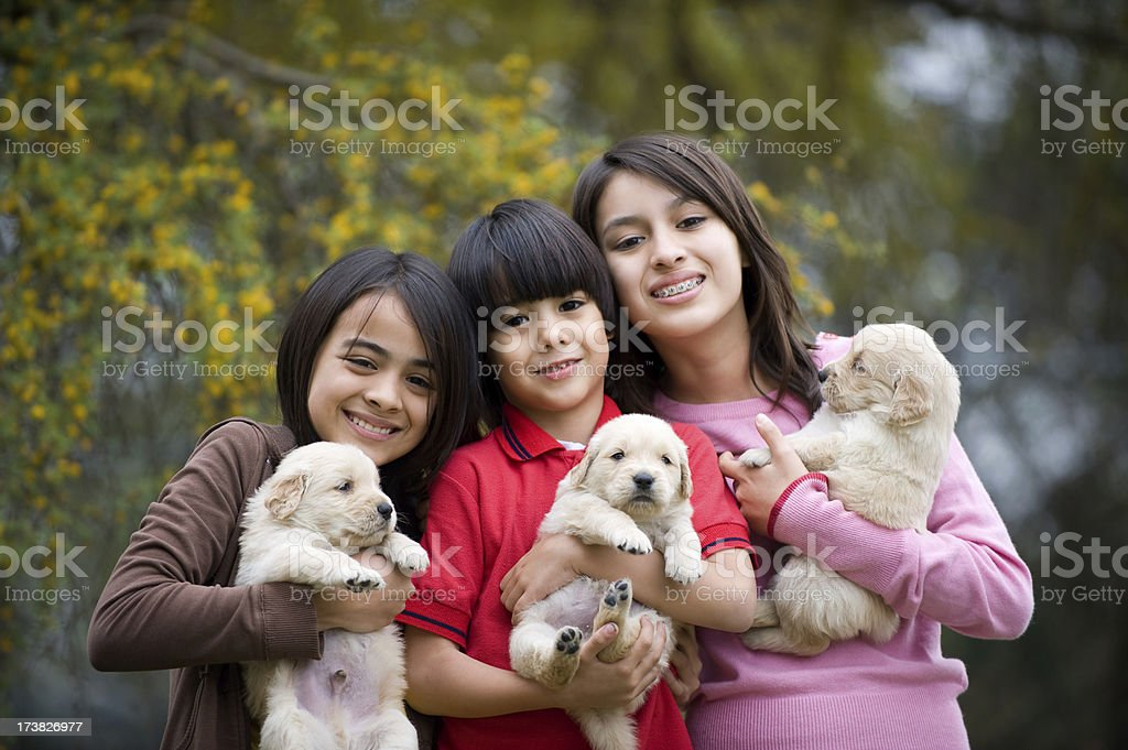 Cute brother and sisters royalty-free stock photo