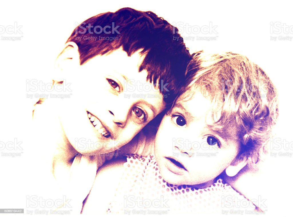 Cute brothers stock photo