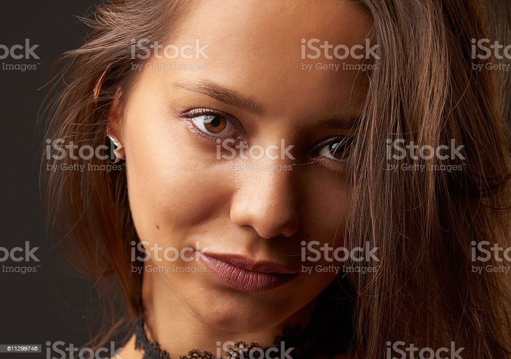 Cute brunette headshot stock photo