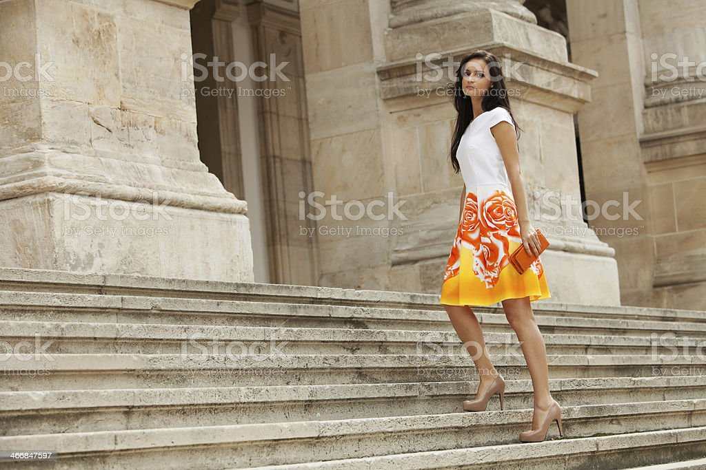 Cute brunette posing royalty-free stock photo