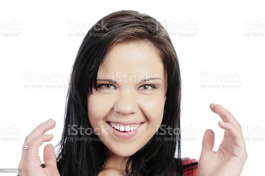 Cute brunette smiles in happy surprise royalty-free stock photo