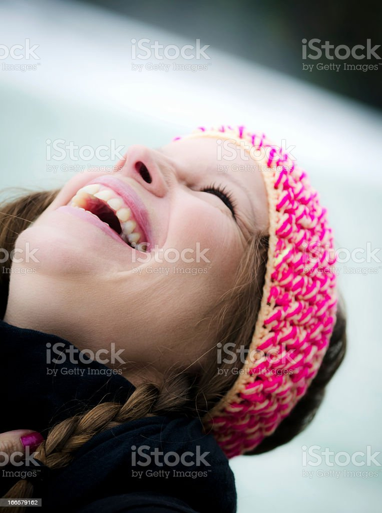 Cute Brunette with Woolen Hair Band royalty-free stock photo