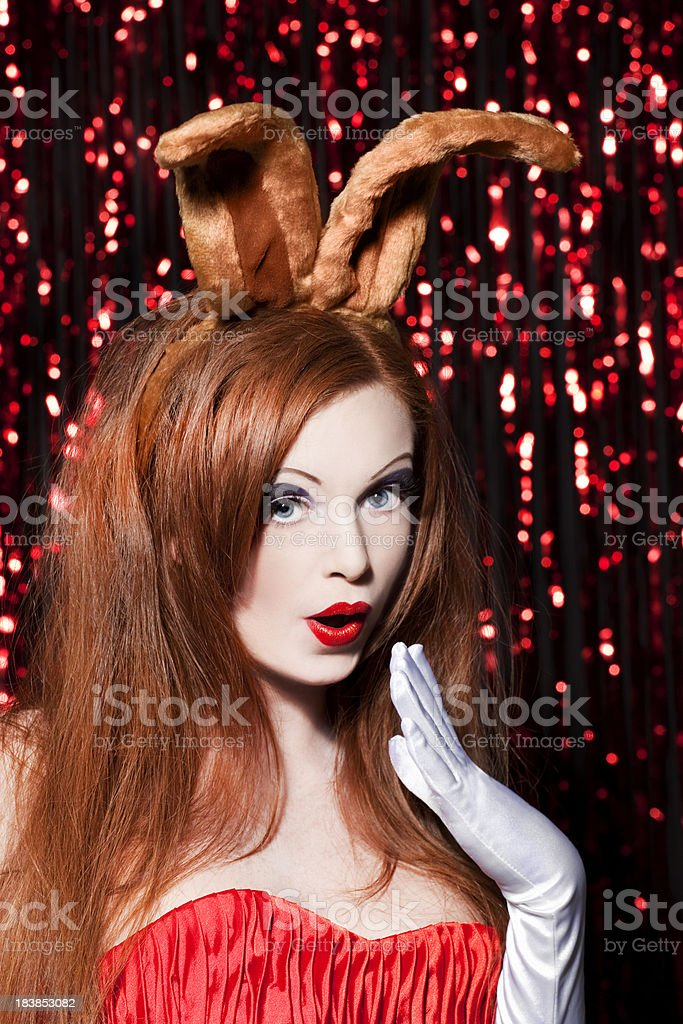 Cute bunny redhead royalty-free stock photo
