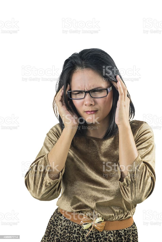 Cute businesswoman with headache over isolated white background stock photo