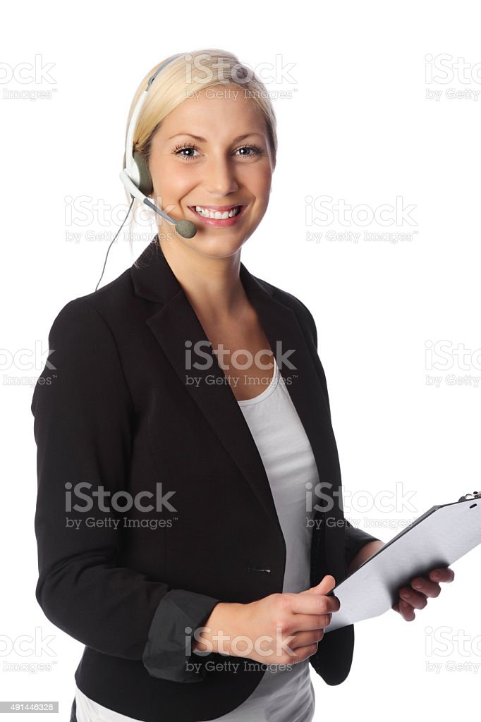 Cute businesswoman with headset stock photo