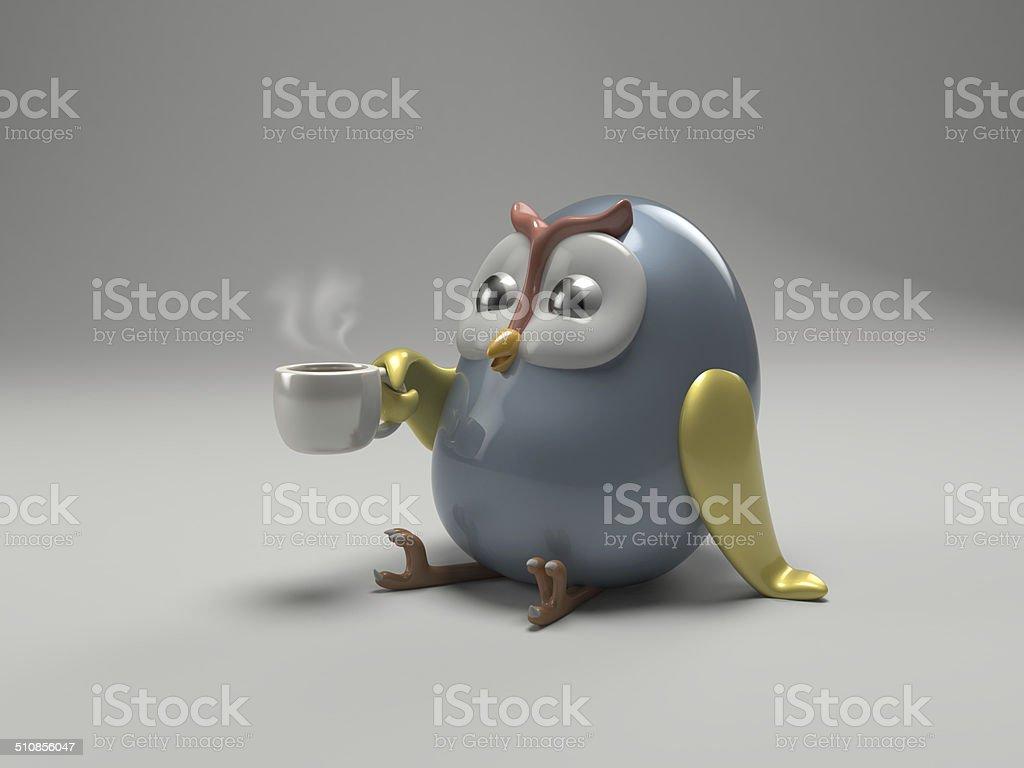 Cute ceramic owl. stock photo