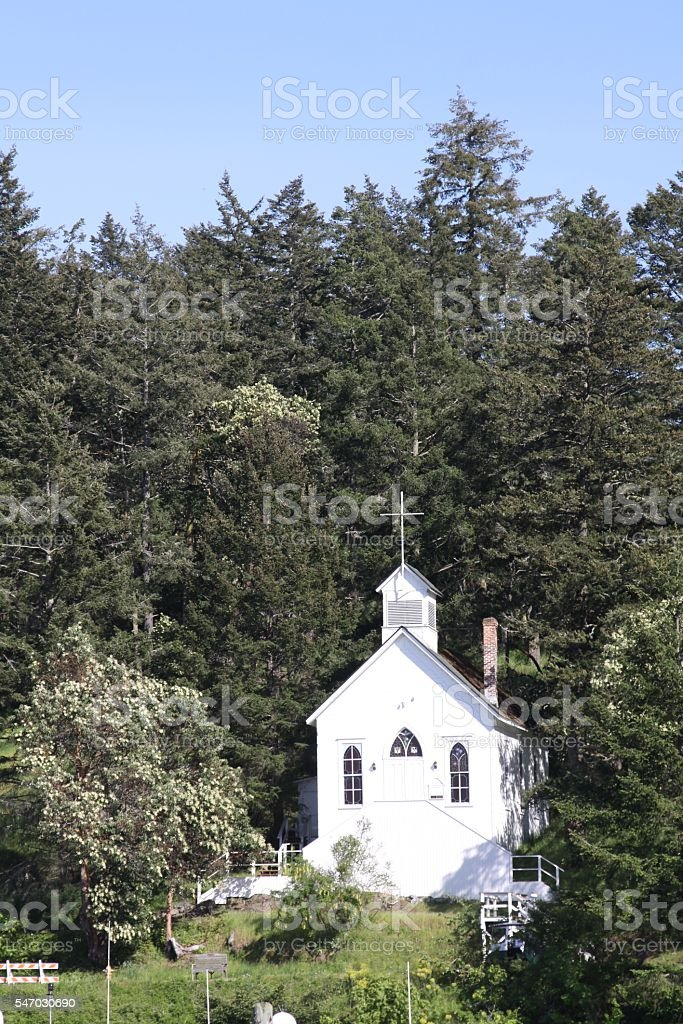 Cute Chapel On The Hill stock photo