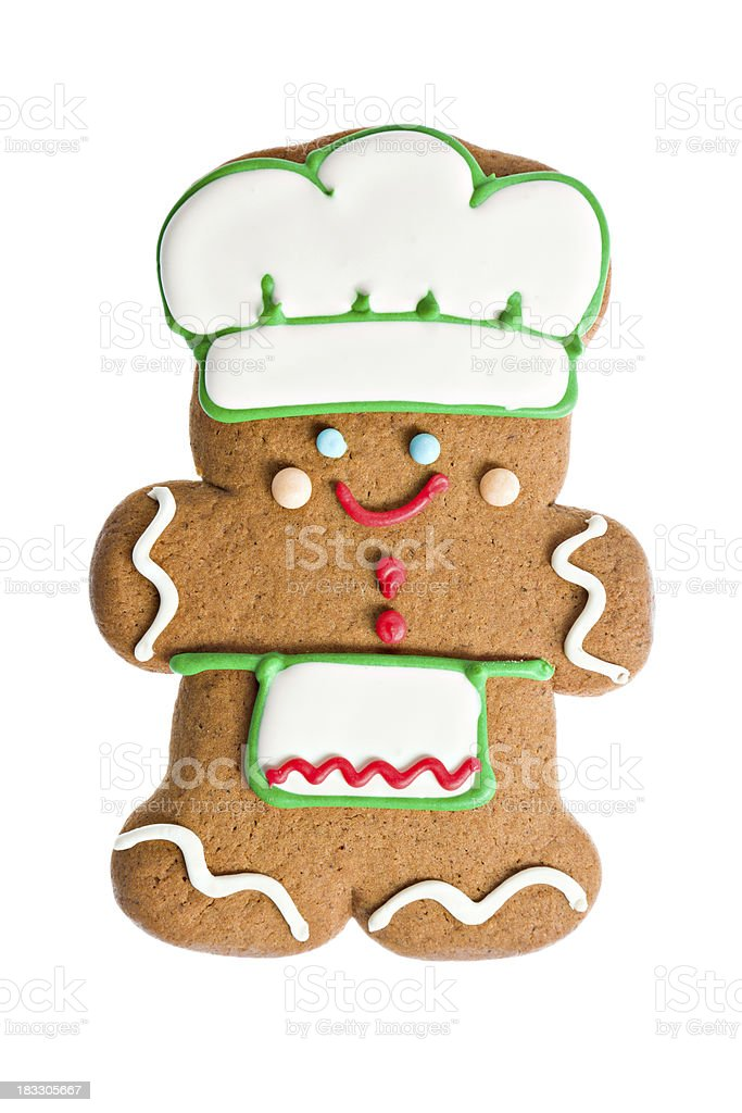 Cute Chef Gingerbread Cookie Isoalted royalty-free stock photo