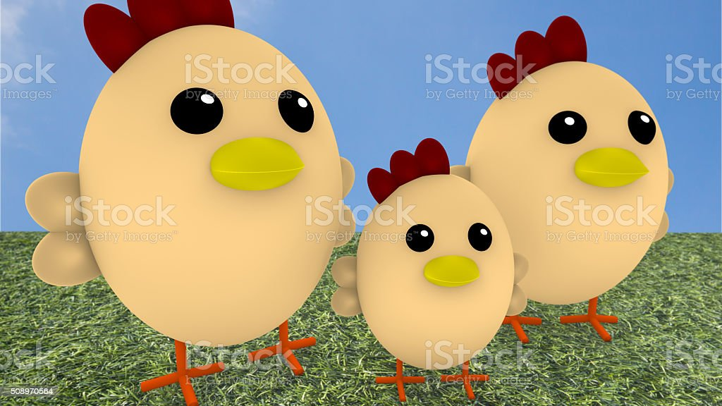 Cute chicken family on gras stock photo