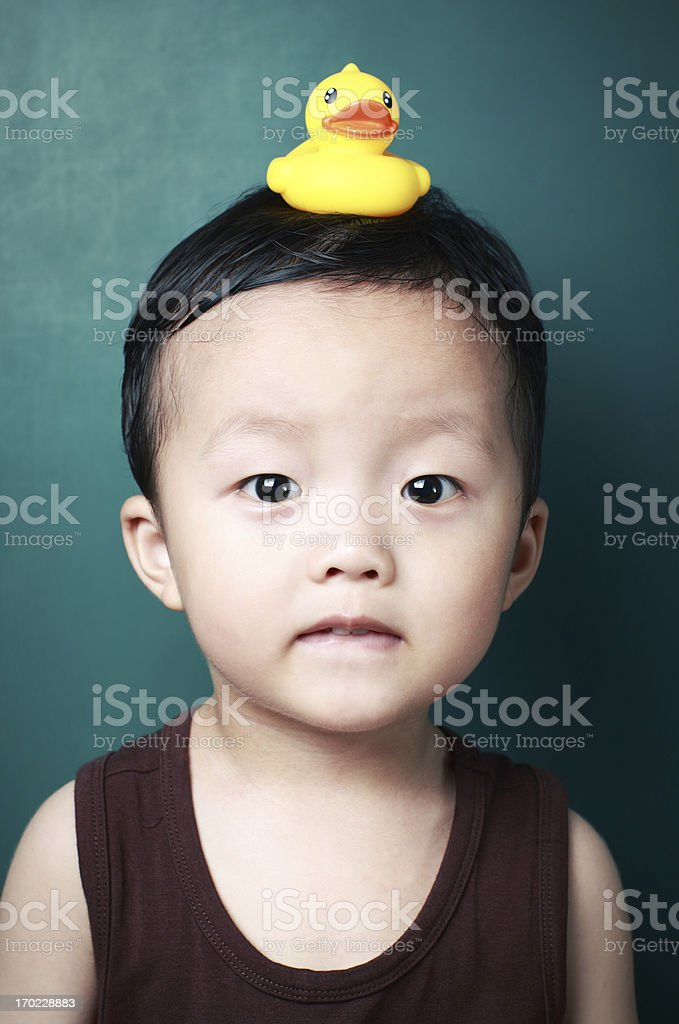 Cute child and duck royalty-free stock photo