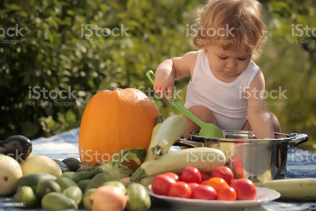 Cute child at picnic stock photo