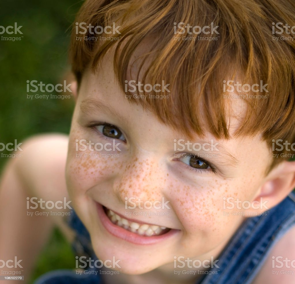 Cute Child Smiling, Happy Redhead Freckle Face Boy Laughing royalty-free stock photo