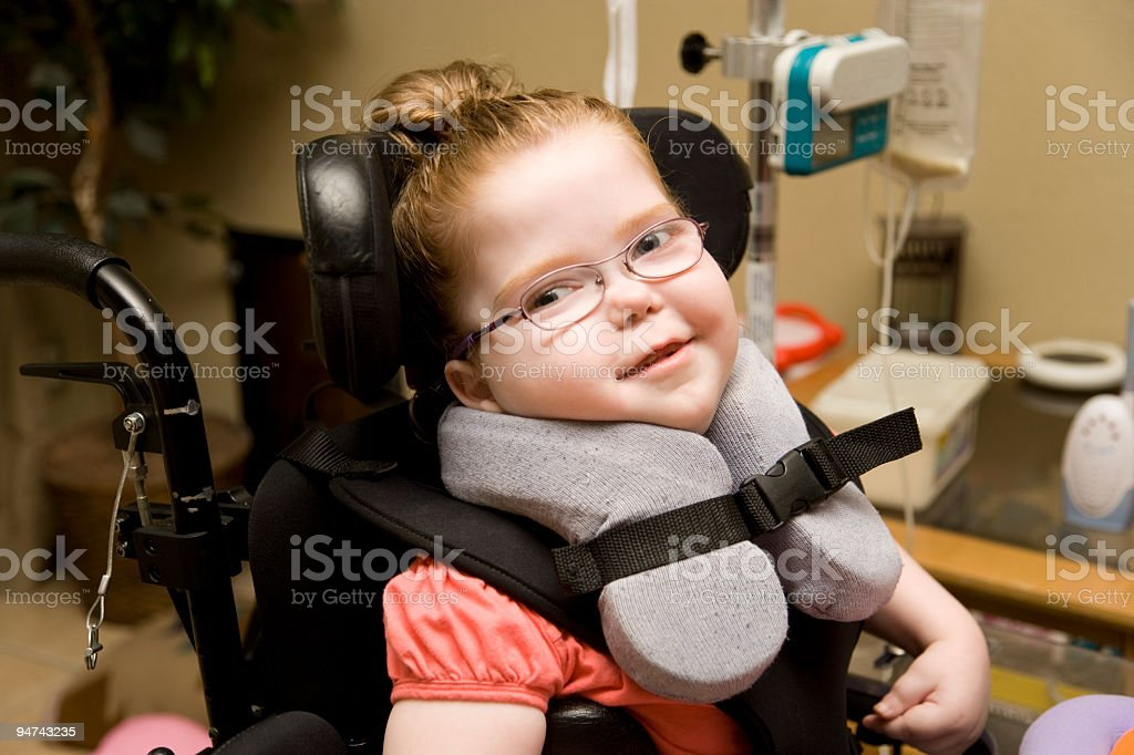 Cute Child with Cerebral Palsy stock photo