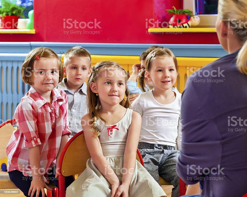 Cute Children in Nursery School royalty-free stock photo