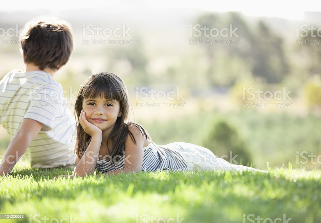 Cute children in park, boy looking away royalty-free stock photo