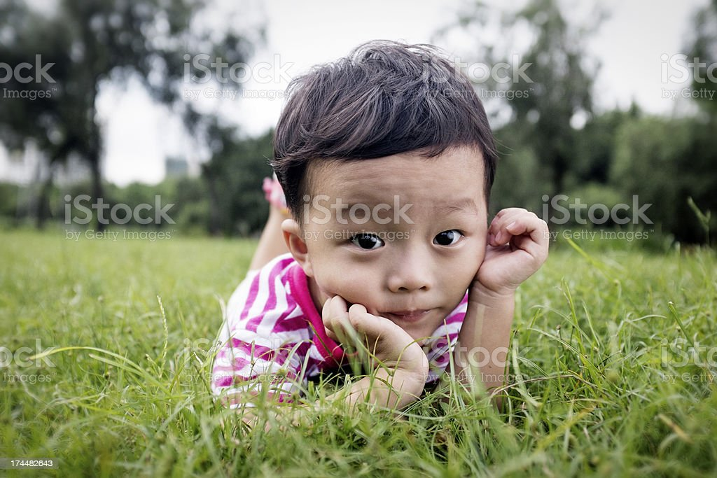 cute children in the park royalty-free stock photo