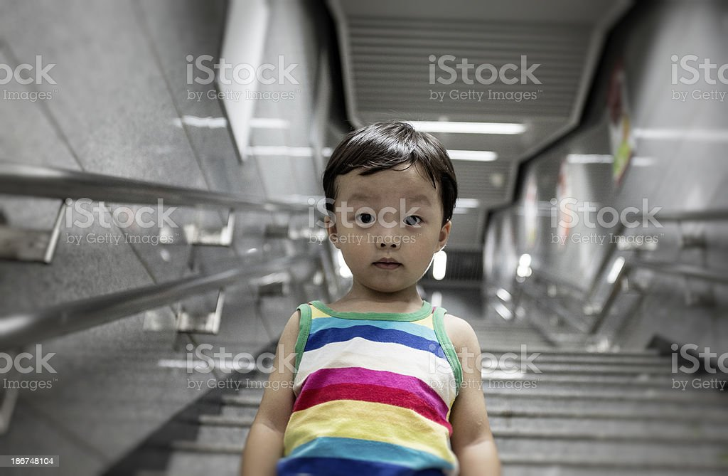 Cute children in the subway station royalty-free stock photo