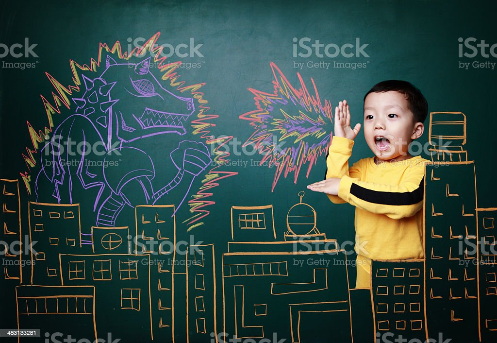 Cute children VS monster stock photo