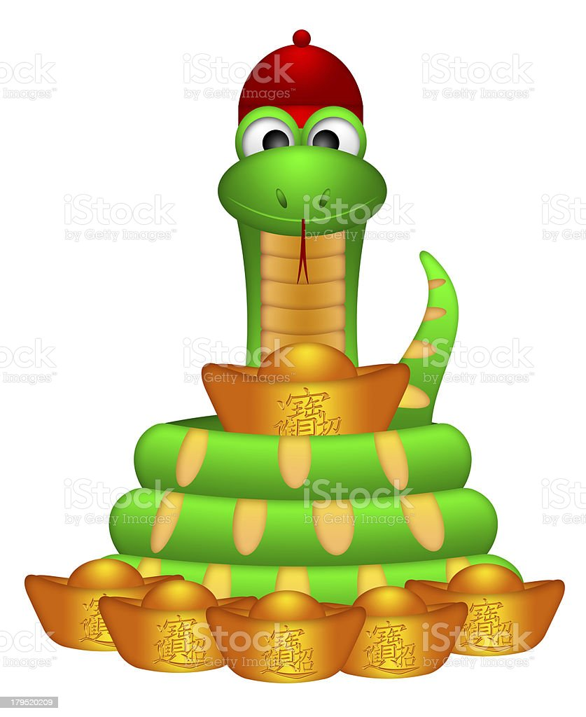 Cute Chinese New Year Snake with Gold Money royalty-free stock photo