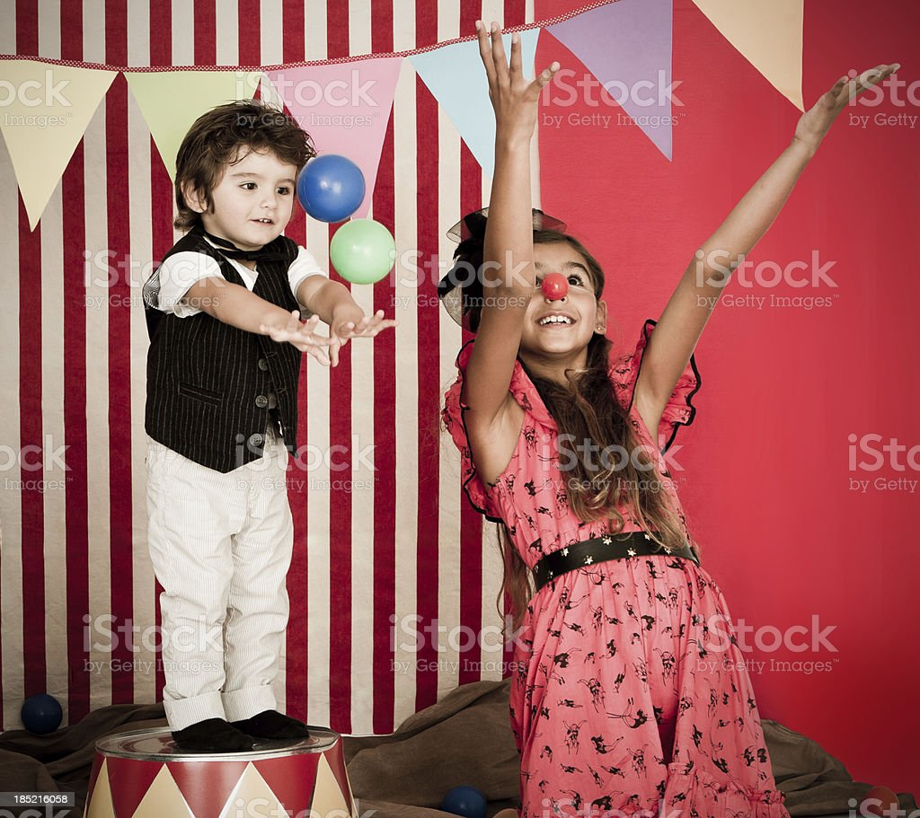 Cute circus performance stock photo