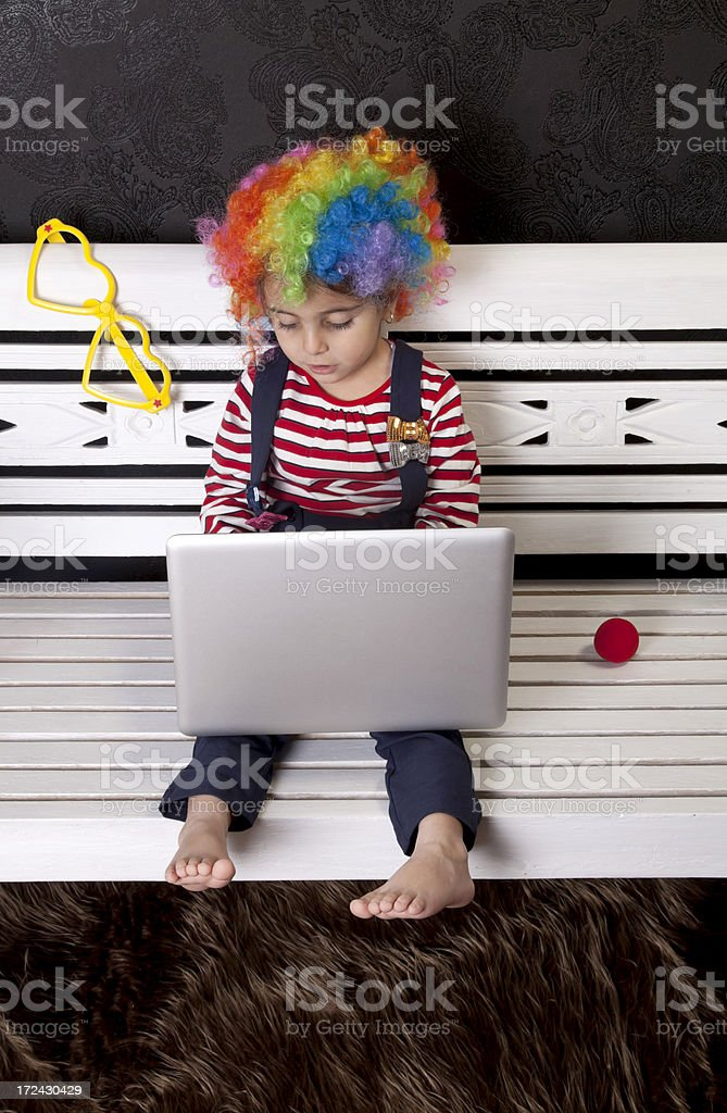 cute clown with computer royalty-free stock photo