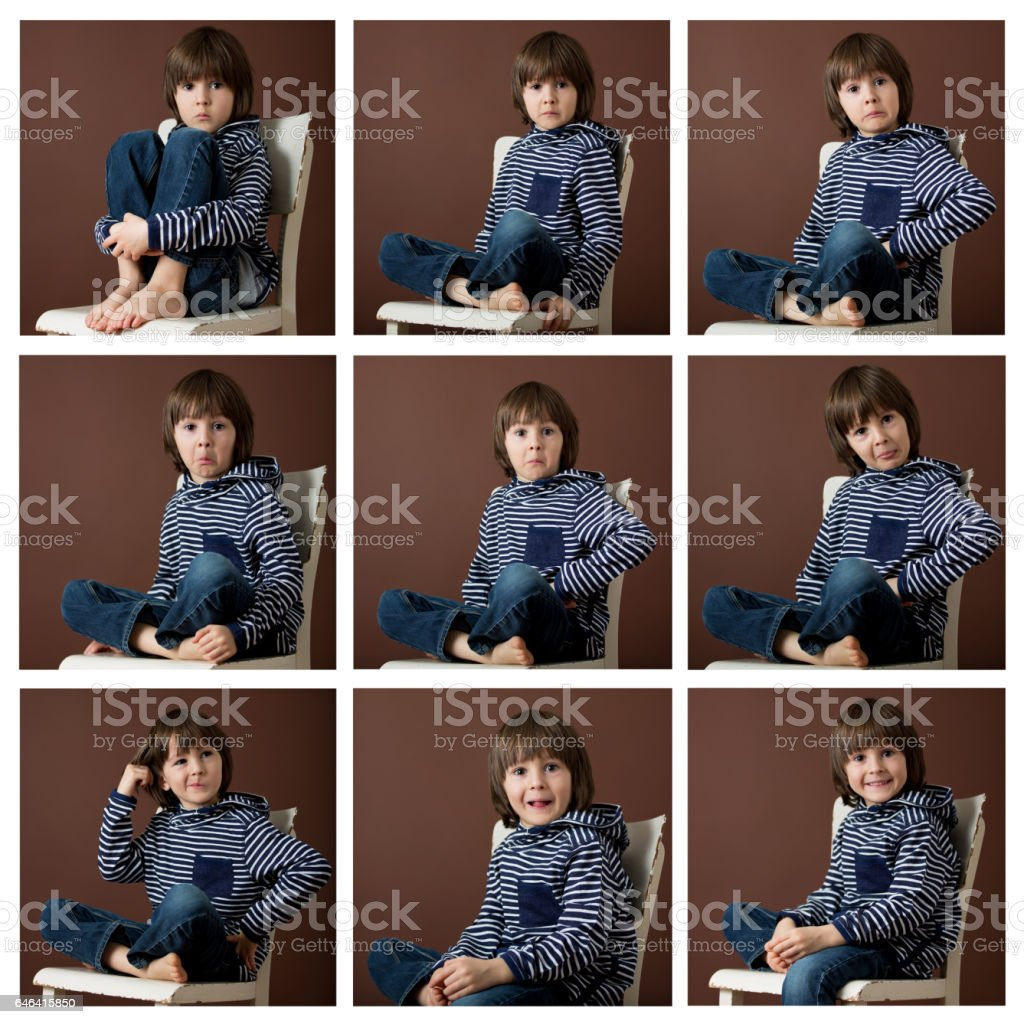 Cute collage of a young boy isolated on brown background stock photo