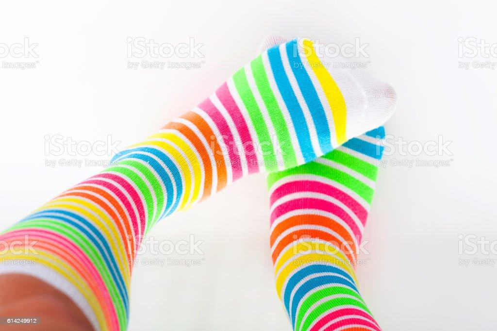 Cute colored multicolored socks stock photo