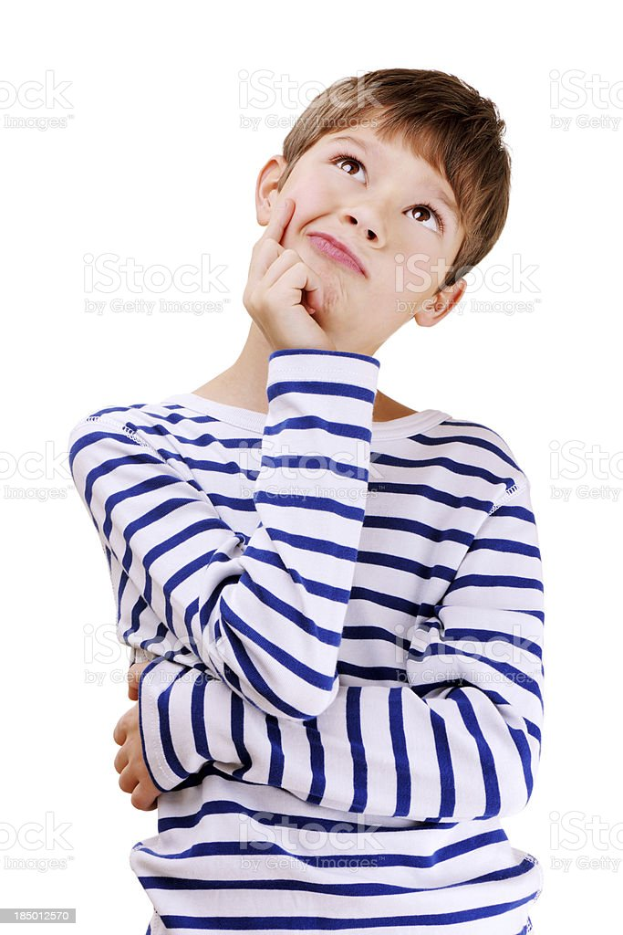 Cute Confused Young Boy stock photo