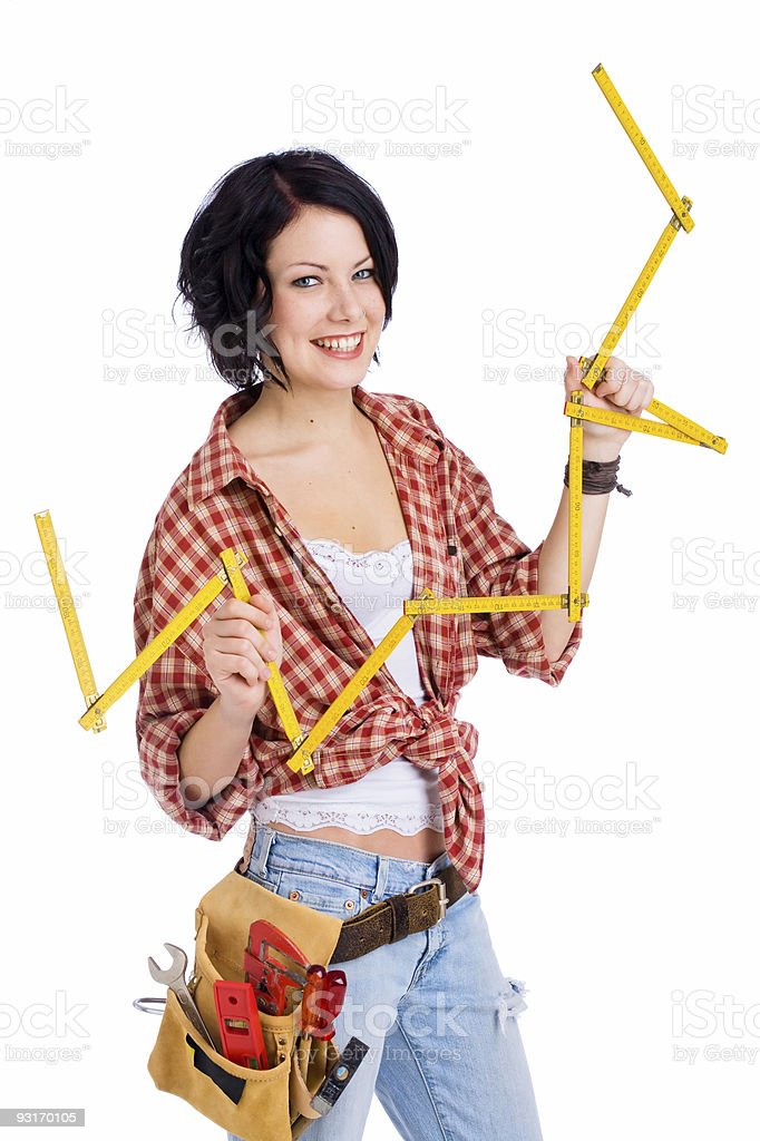 cute construction worker on white royalty-free stock photo
