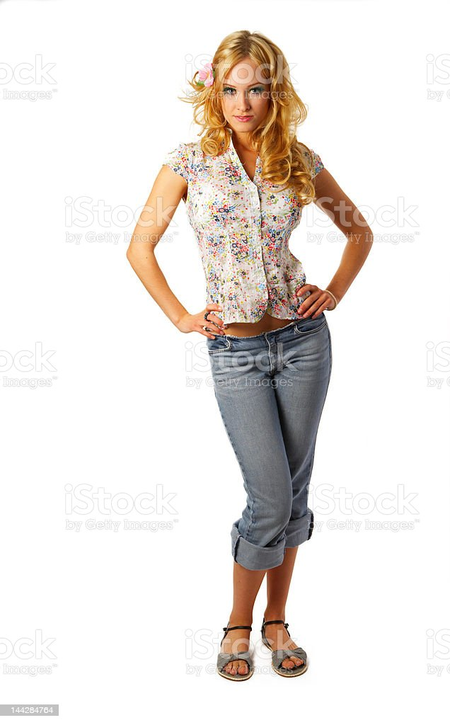 Cute contemporary young woman posing royalty-free stock photo