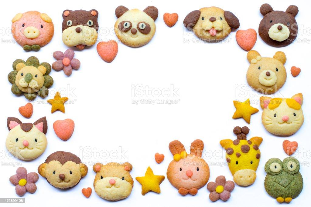 Cute cookies frame stock photo