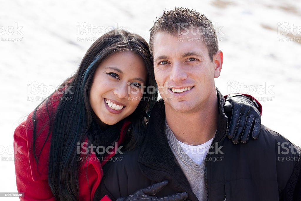 Cute Couple in the Snow royalty-free stock photo