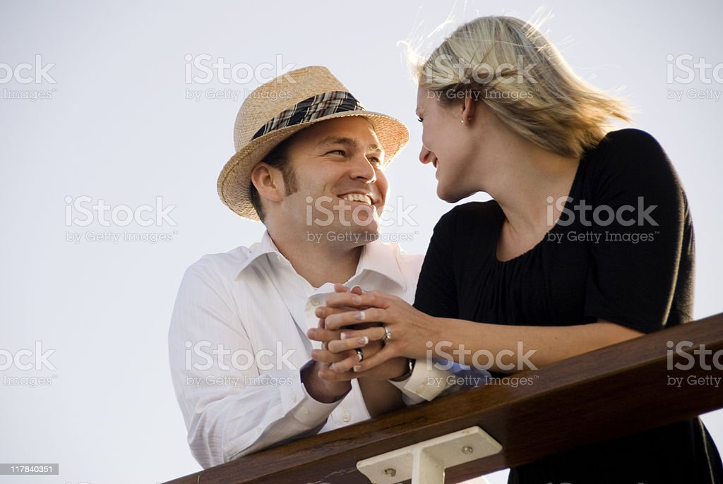 Cute couple on a cruise ship royalty-free stock photo