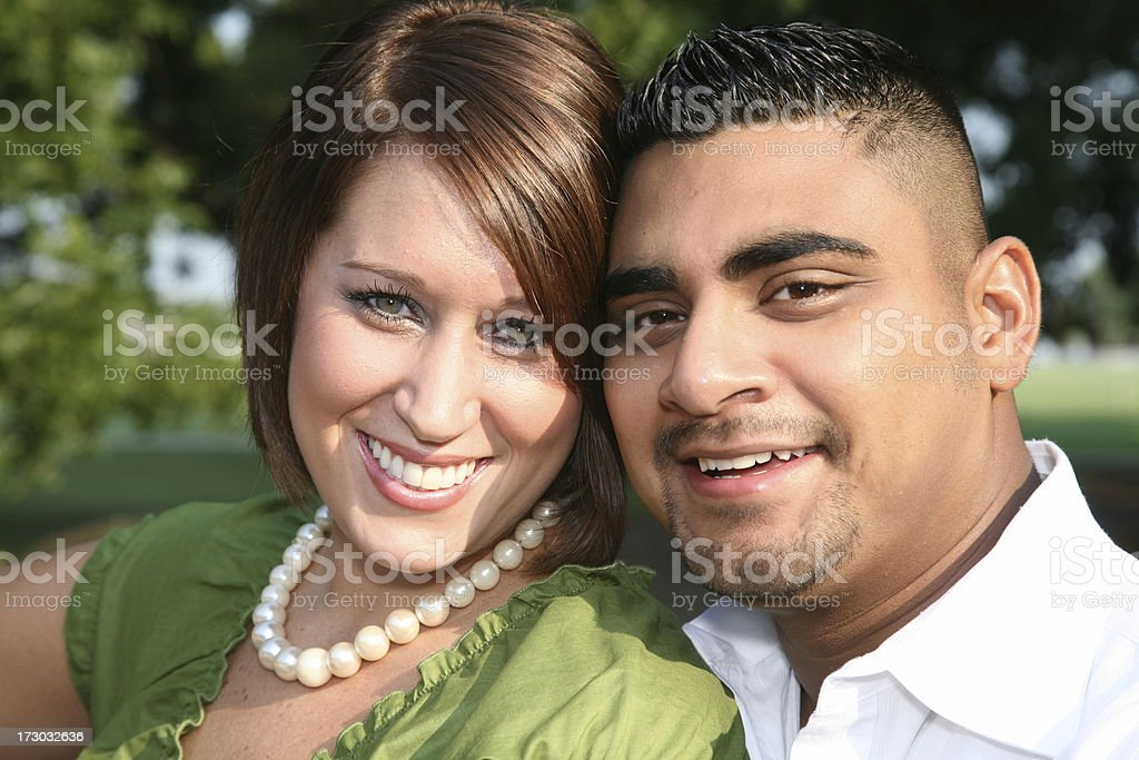 Cute Couple Sitting Outside royalty-free stock photo