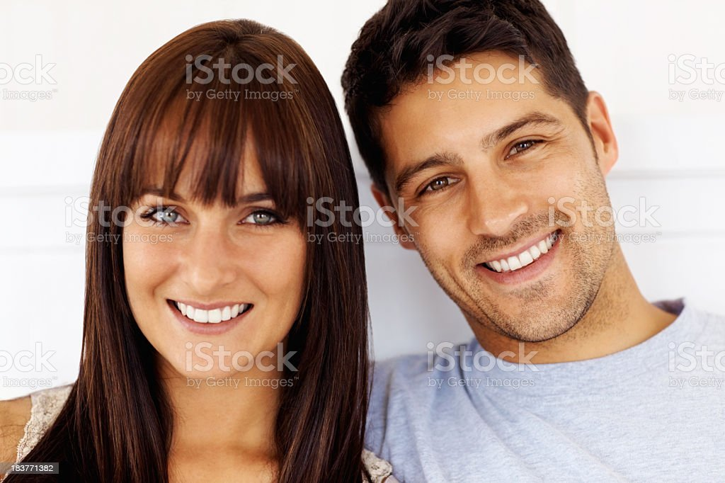 Cute couple smiling stock photo