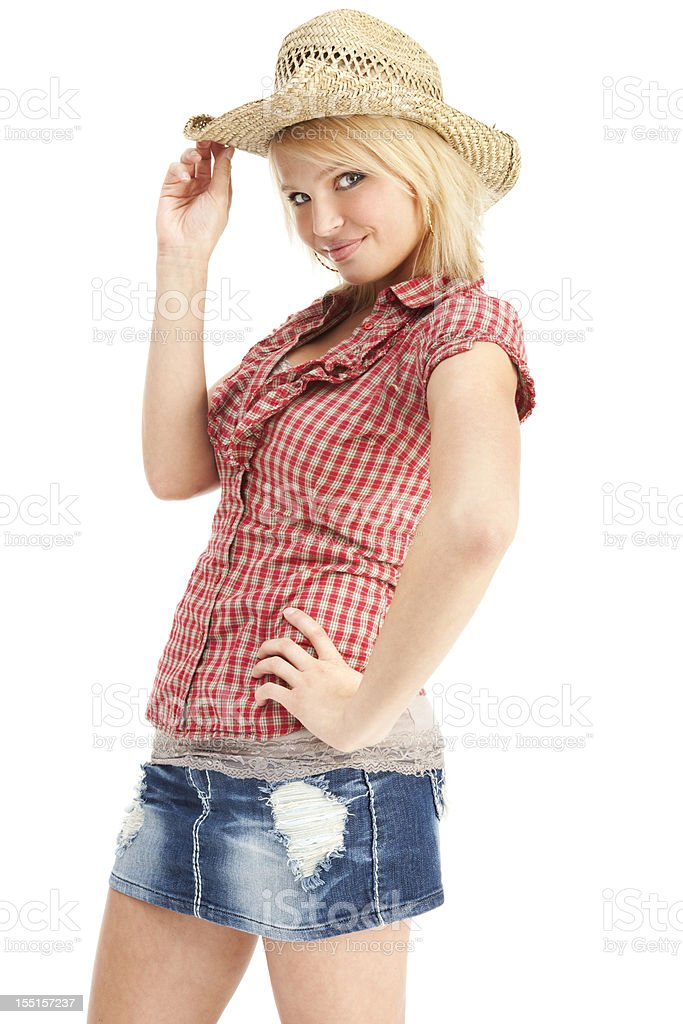 Cute Cowgirl Tipping Hat royalty-free stock photo