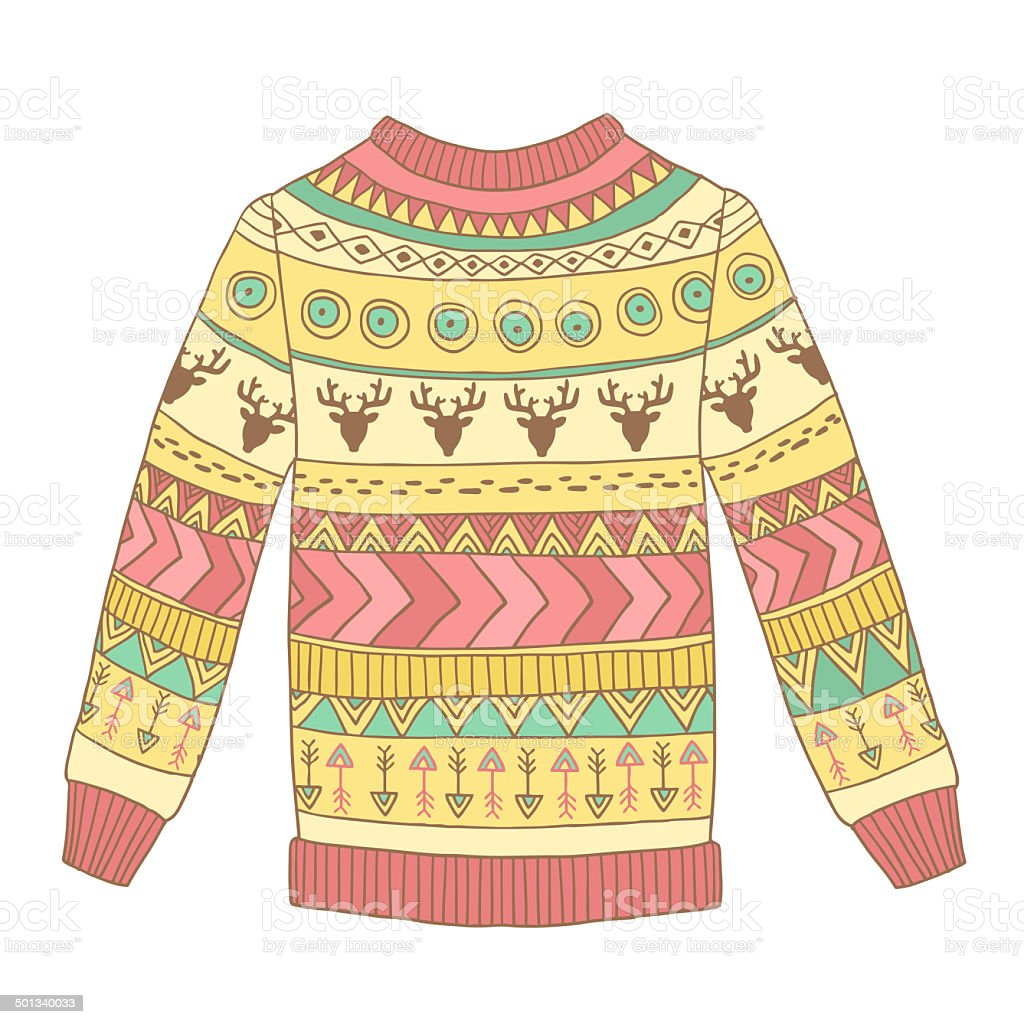 Cute cozy sweater with abstract ornaments stock photo