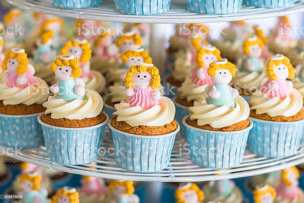 Cute cupcakes in wedding ceremony stock photo