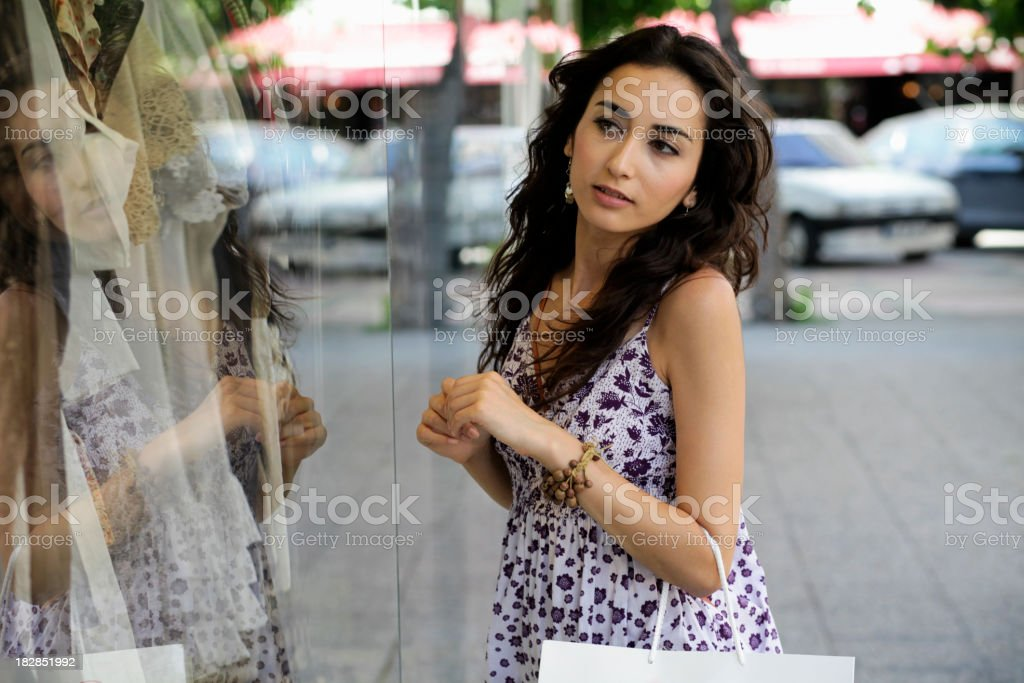 Cute Curious Shopper royalty-free stock photo