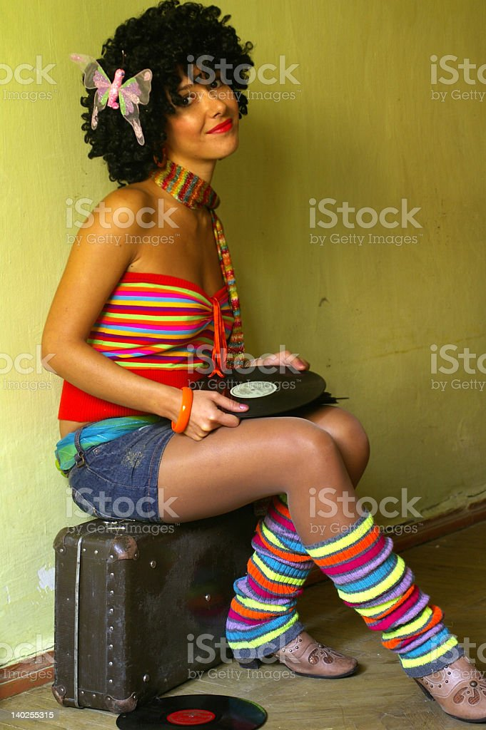 Cute curly disco girl royalty-free stock photo