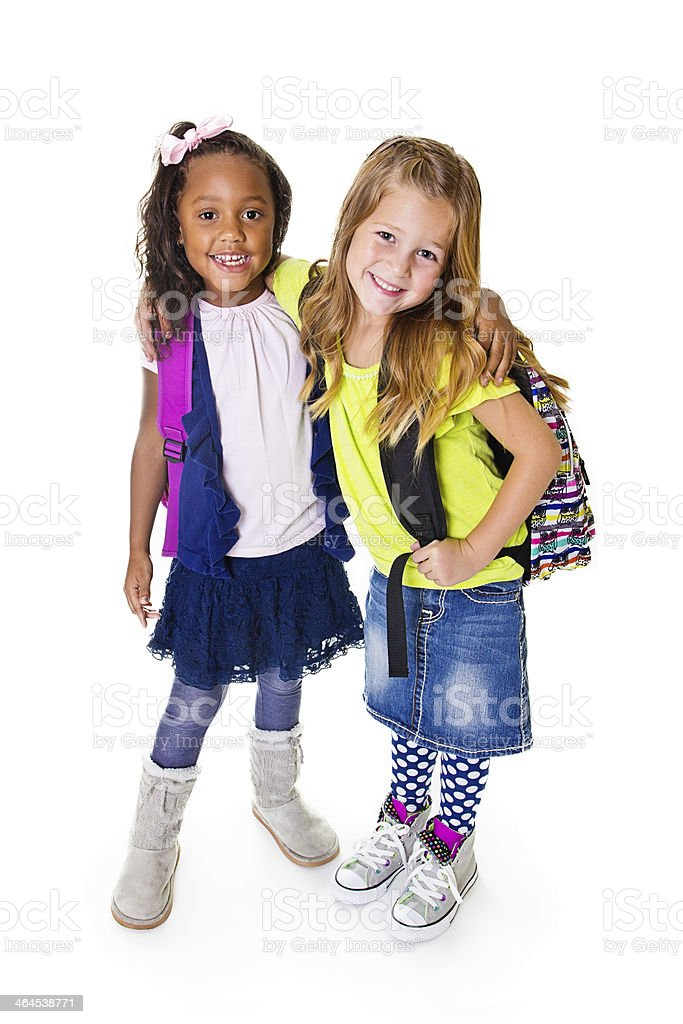 Cute Diverse young school students stock photo