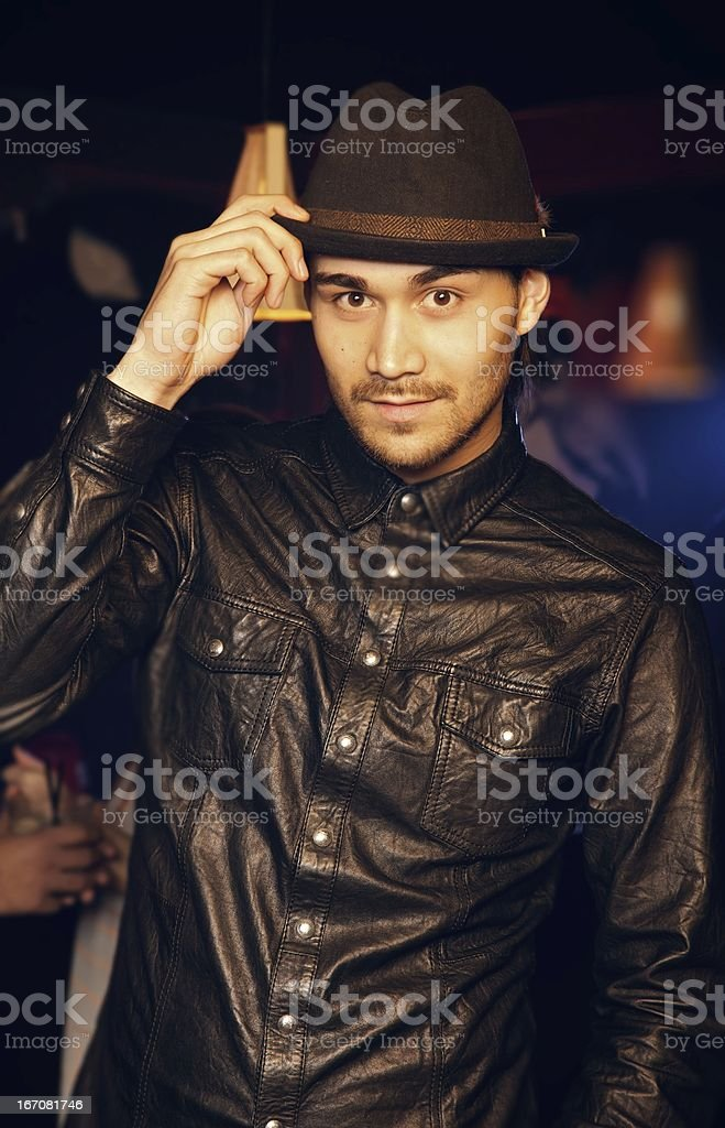 Cute Dude Looking Cool in Black royalty-free stock photo